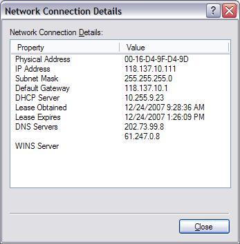 Konfigurasi IP untuk interface yang terhubung ke Cable Modem pada PC1